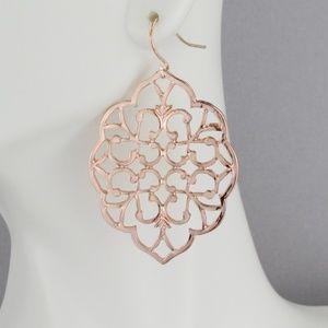 rose gold earrings dangle cut out filigree scroll